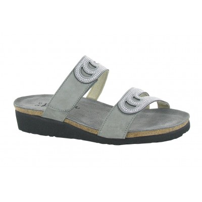 Ainsley Naot Women Sandals - Mid Heel Sandals Light Gray Nubuck With Gray Rivets Large Size Express JNCF4033